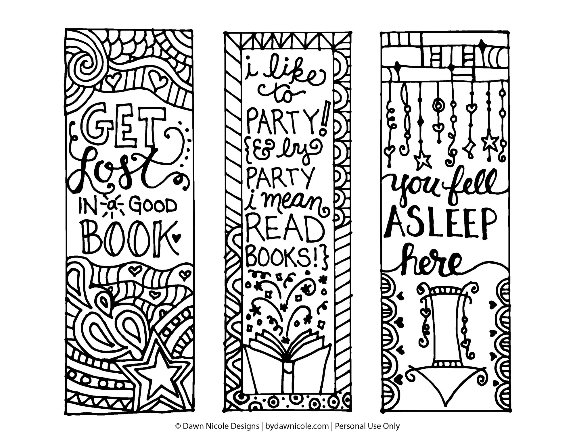 Free Printable Coloring Page Bookmarks | Dawn Nicole Designs® - Free Printable Bookmarks For Libraries