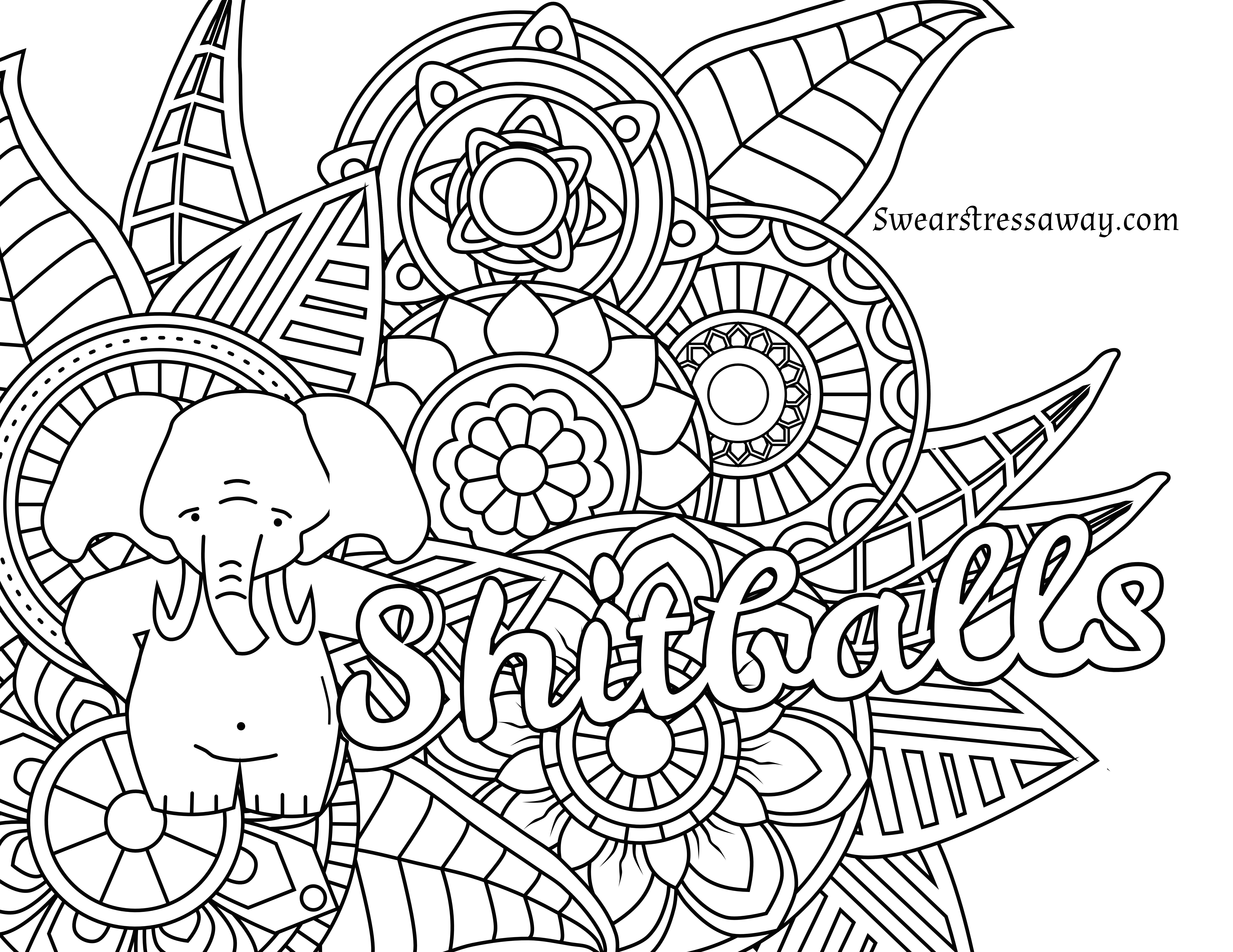 Free Printable Coloring Page - Shitballs - Swear Word Coloring Page - Swear Word Coloring Pages Printable Free