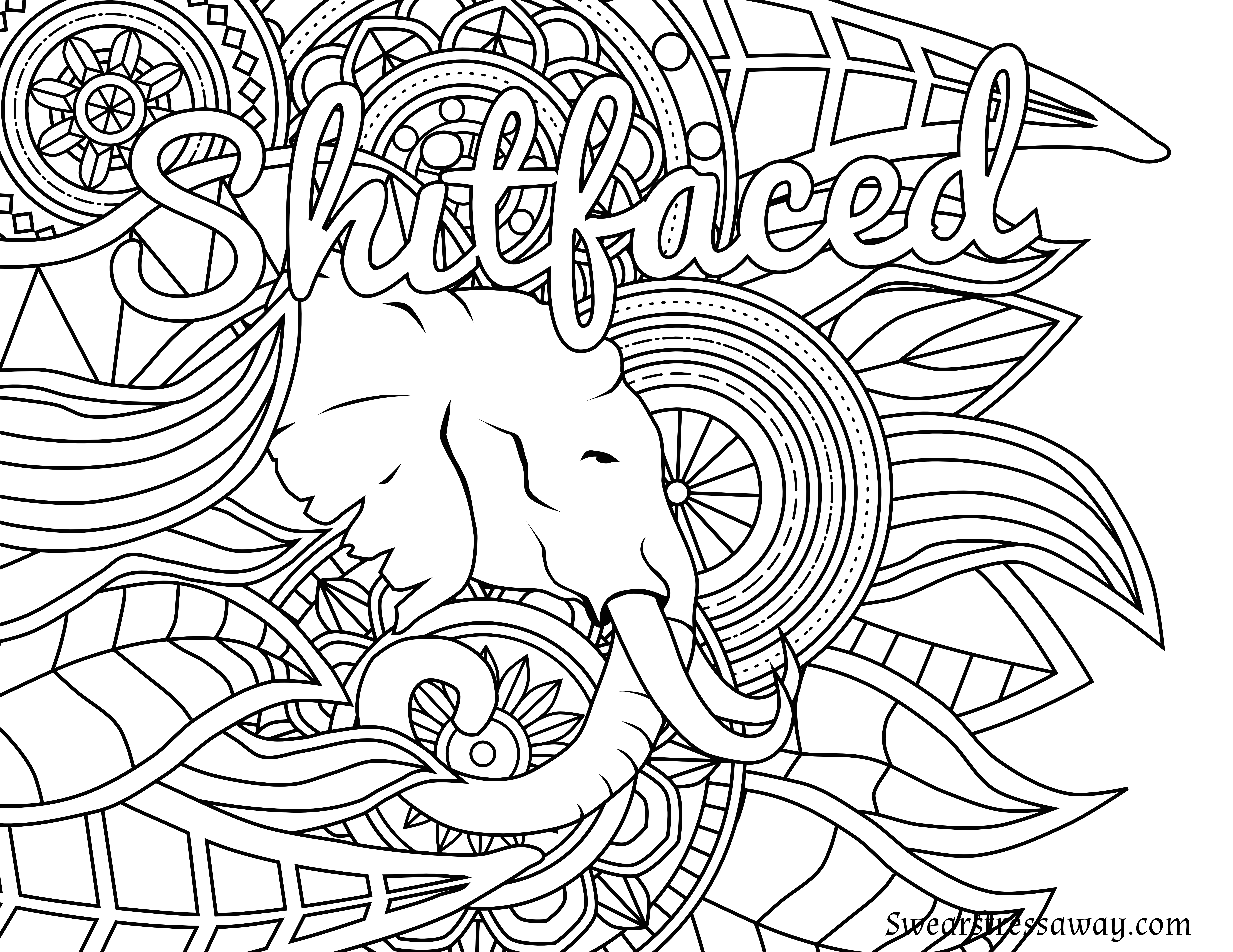 Free Printable Coloring Page - Shitfaced - Swear Word Coloring Page - Swear Word Coloring Pages Printable Free