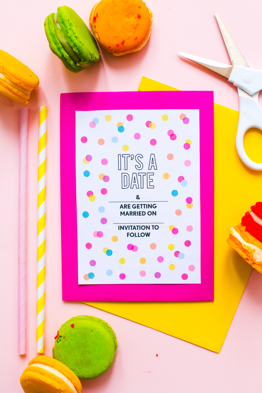 Free Printable Confetti Save The Dates Download Fun Colourful - Free Printable Save The Date