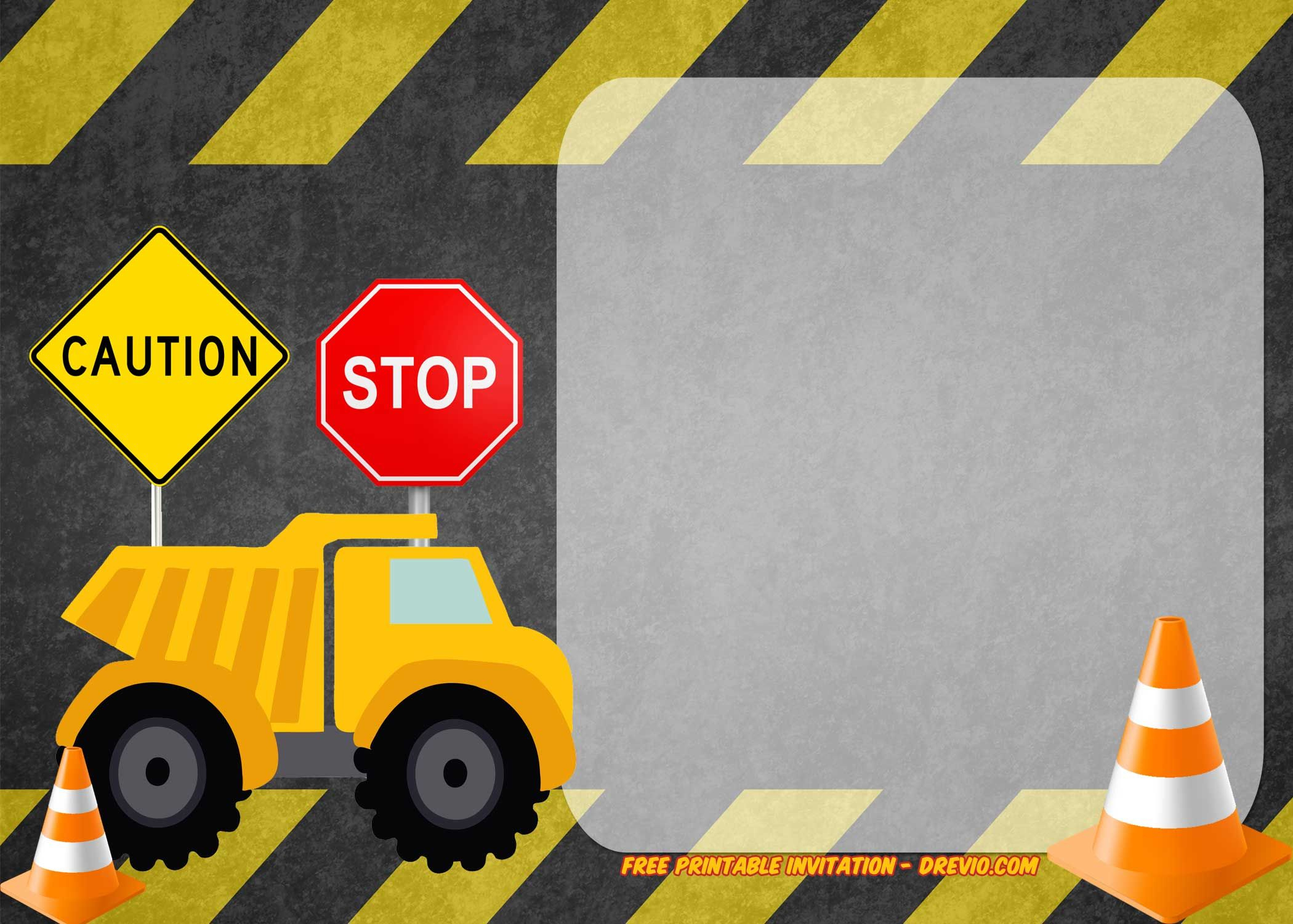 Free Printable Construction Vehicles Birthday Invitation Templates - Free Printable Construction Birthday Invitation Templates
