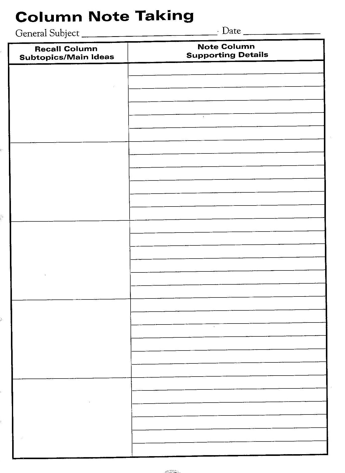 Free Printable Cornell Notes Graphic Organizer |  Comic Note - Free Printable Main Idea Graphic Organizer