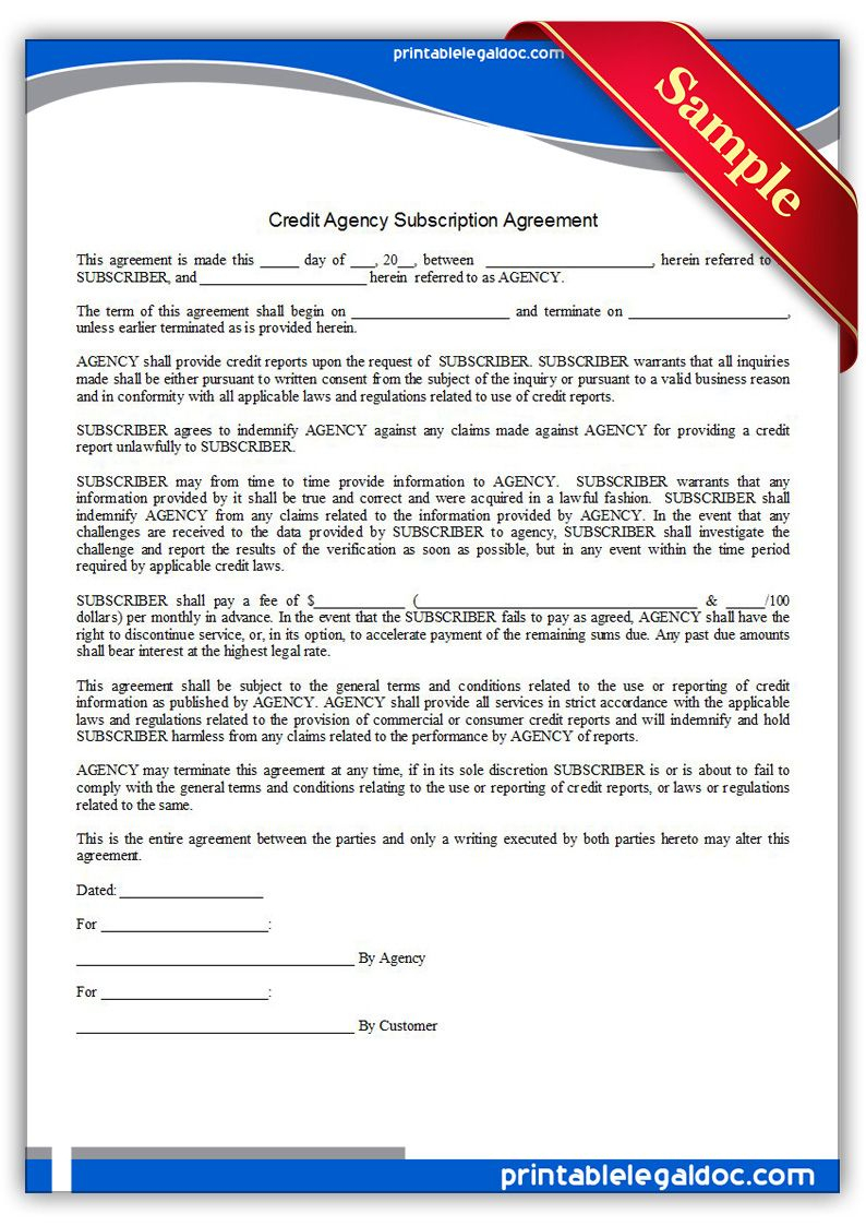 Free Printable Credit Agency Subscription Agreement | Sample - Free Printable Legal Documents