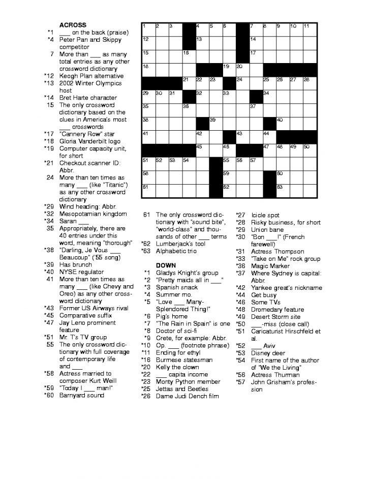 Free Online Printable Easy Crossword Puzzles