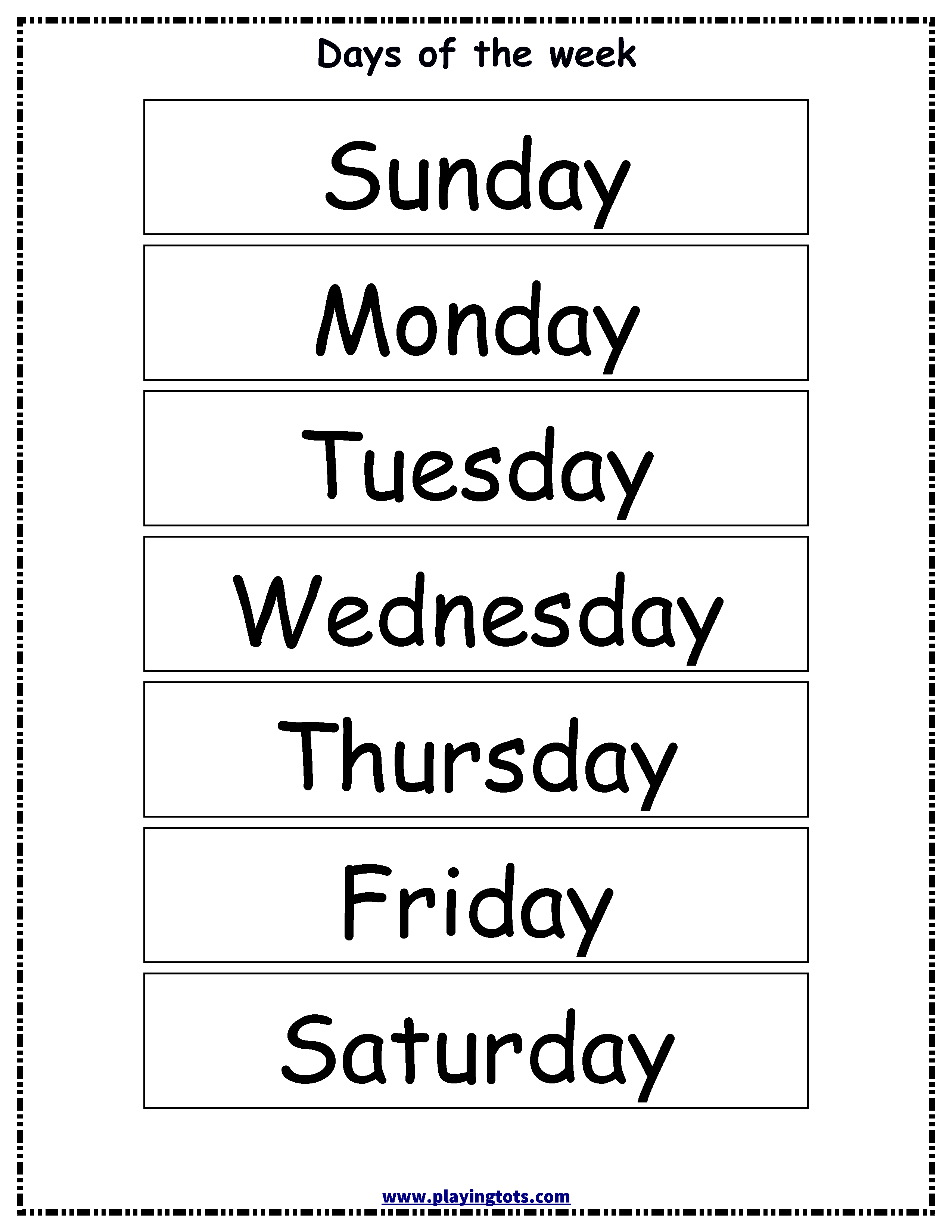Free Printable Days Of The Week Chart | Classroom Ideas | Flashcards - Free Printable Days Of The Week