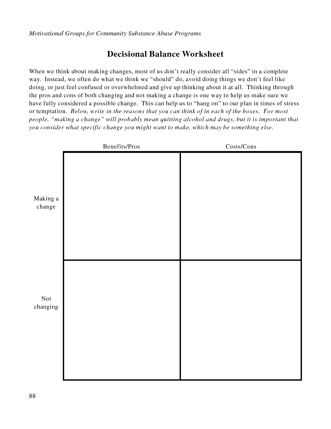 Free Printable Dbt Worksheets | Decisional Balance Worksheet - Pdf - Free Printable Therapy Worksheets