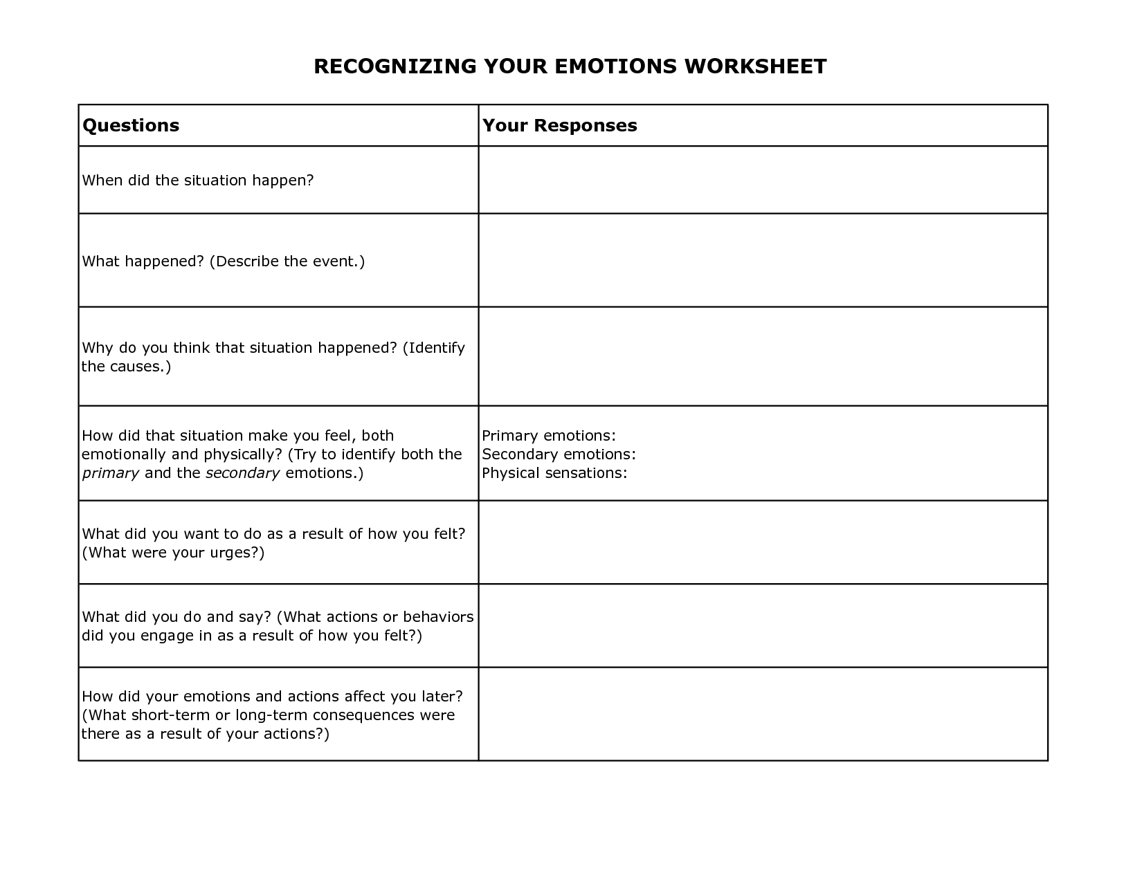Free Printable Dbt Worksheets | Recognizing Your Emotions Worksheet - Free Printable Therapy Worksheets
