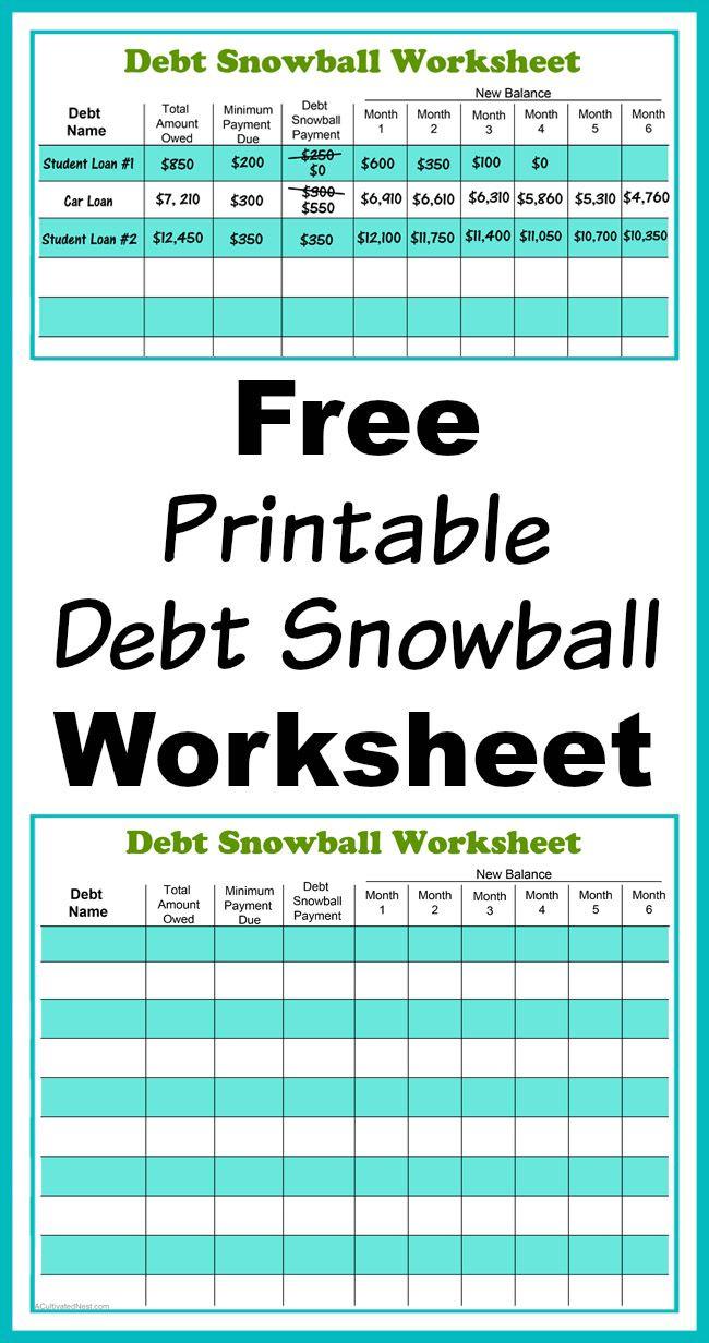 Free Printable Debt Snowball Worksheet- Pay Down Your Debt! | Living - Free Printable Debt Payoff Worksheet