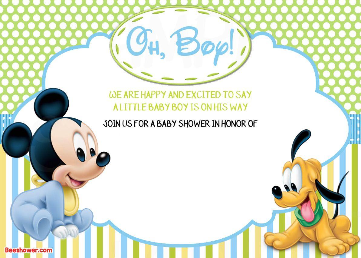 Free Printable Disney Baby Shower Invitations   Free Printable - Free Printable Baby Mickey Mouse Birthday Invitations