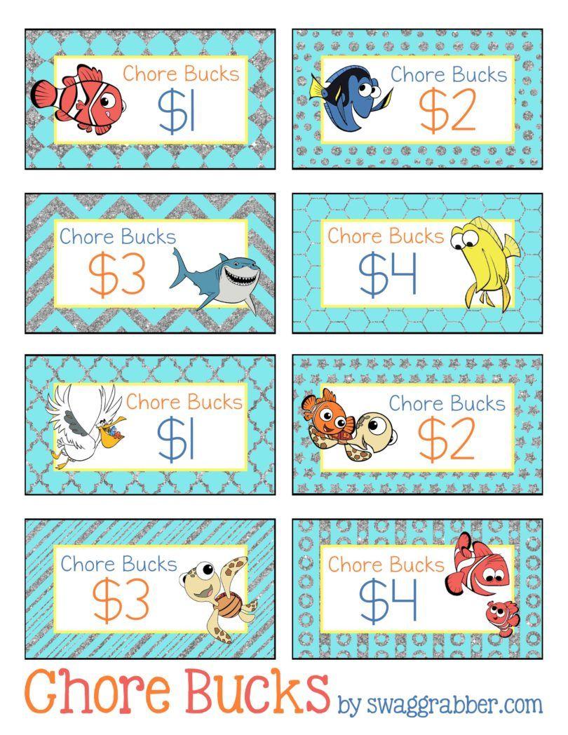 Free Printable Disney Finding Nemo Chore Bucks | Family, Fun, Food - Free Printable Chore Bucks