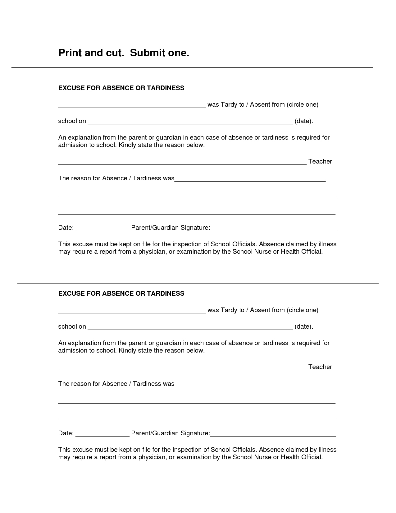 Free Printable Doctors Excuse For Work | Rota Template - Free Printable Doctor Excuse Slips