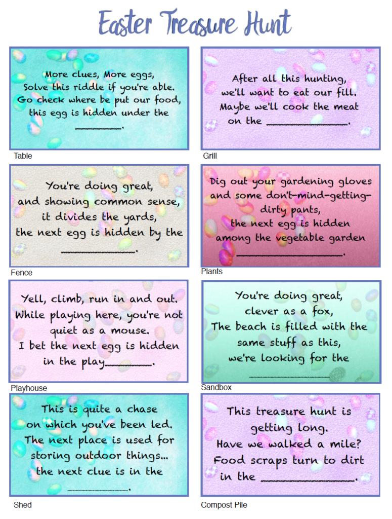 Free Printable Easter Treasure Hunt: 24 Mix & Match Clue Plus Blanks - Easter Scavenger Hunt Riddles Free Printable