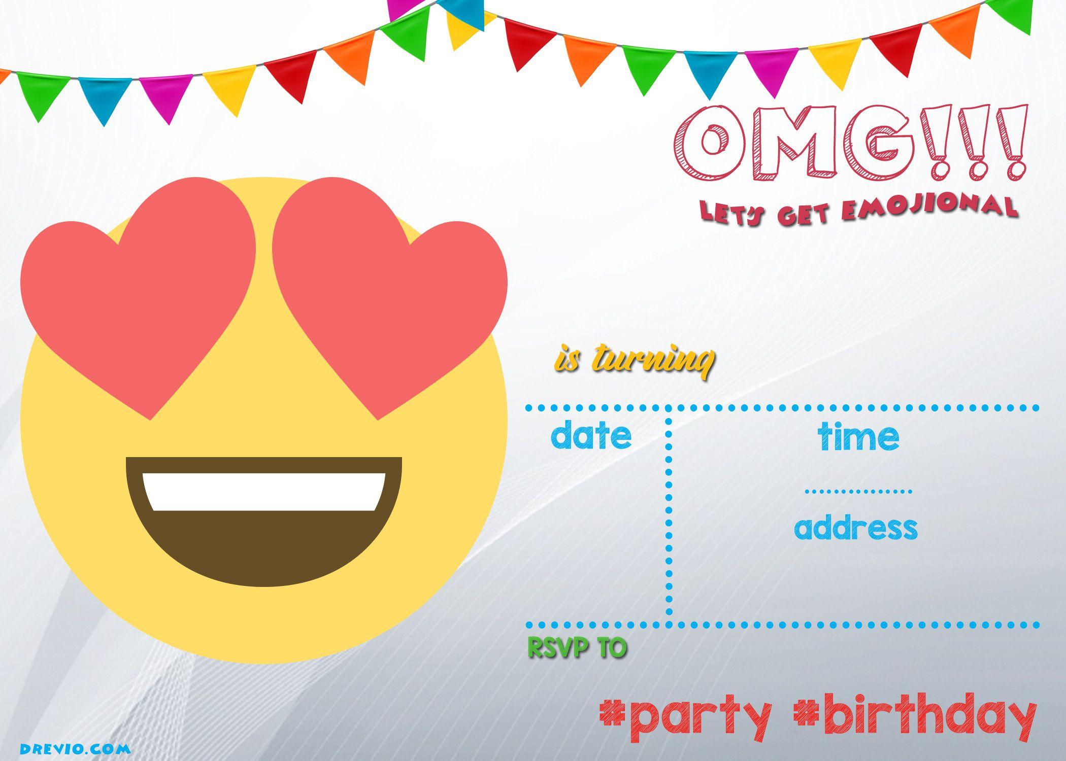 Free Printable Emoji Invitation | Free Printable Birthday - Free Printable Emoji B Day Invites