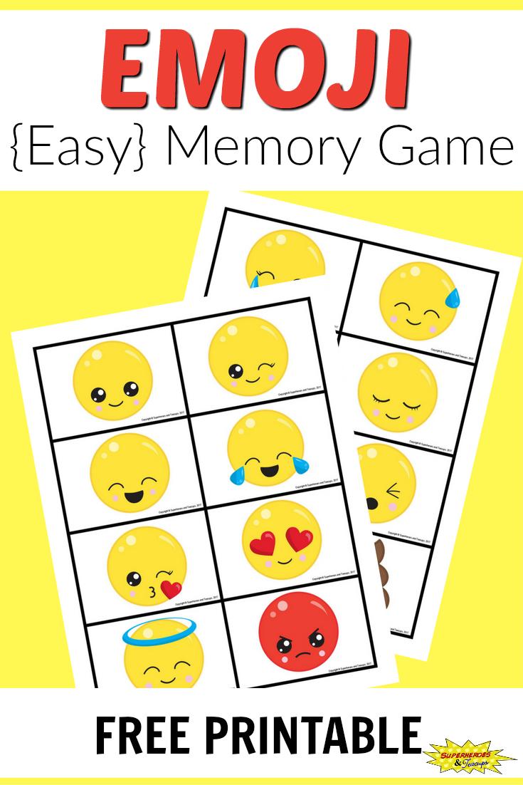 Free Printable Emoji Memory Game For Kids | After School Activities - Free Printable Memory Exercises