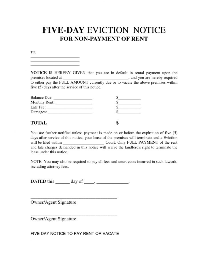 Free Printable 3 Day Eviction Notice