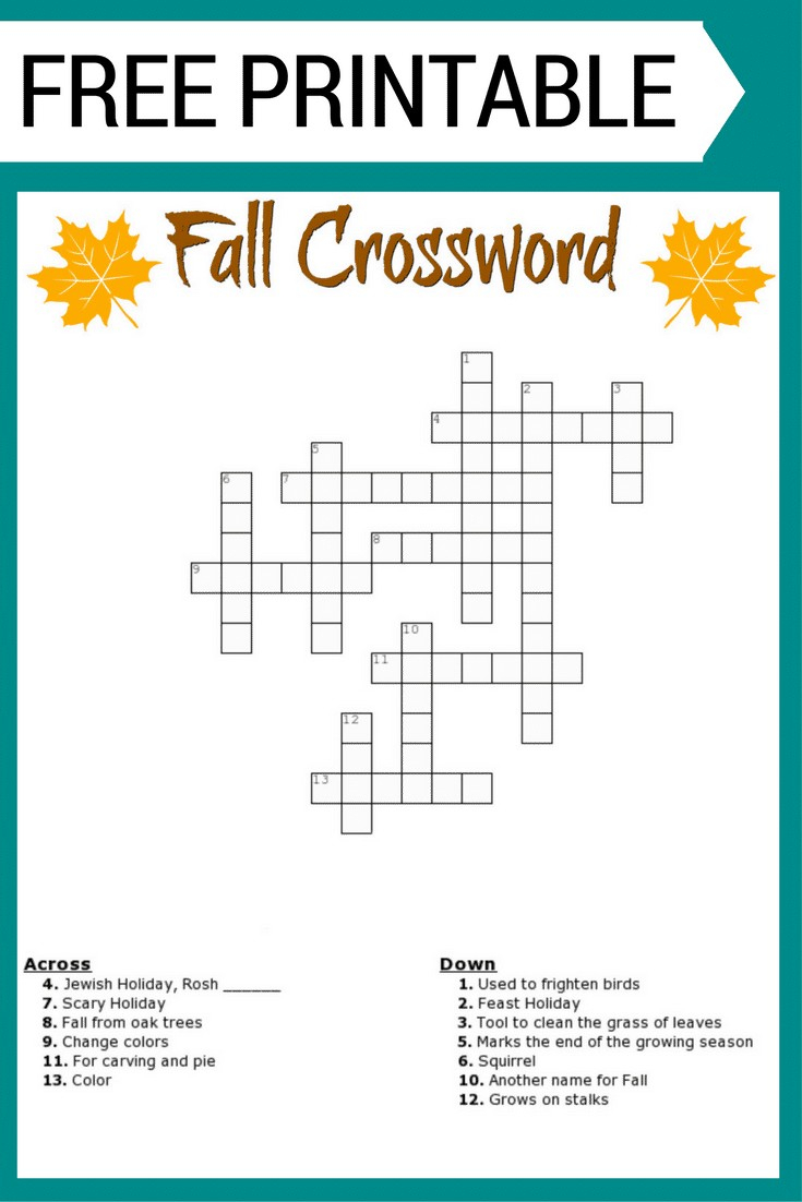 Free Printable Fall Crossword Puzzle In Puzzle Sheets To Print - Free Printable Fill In Puzzles