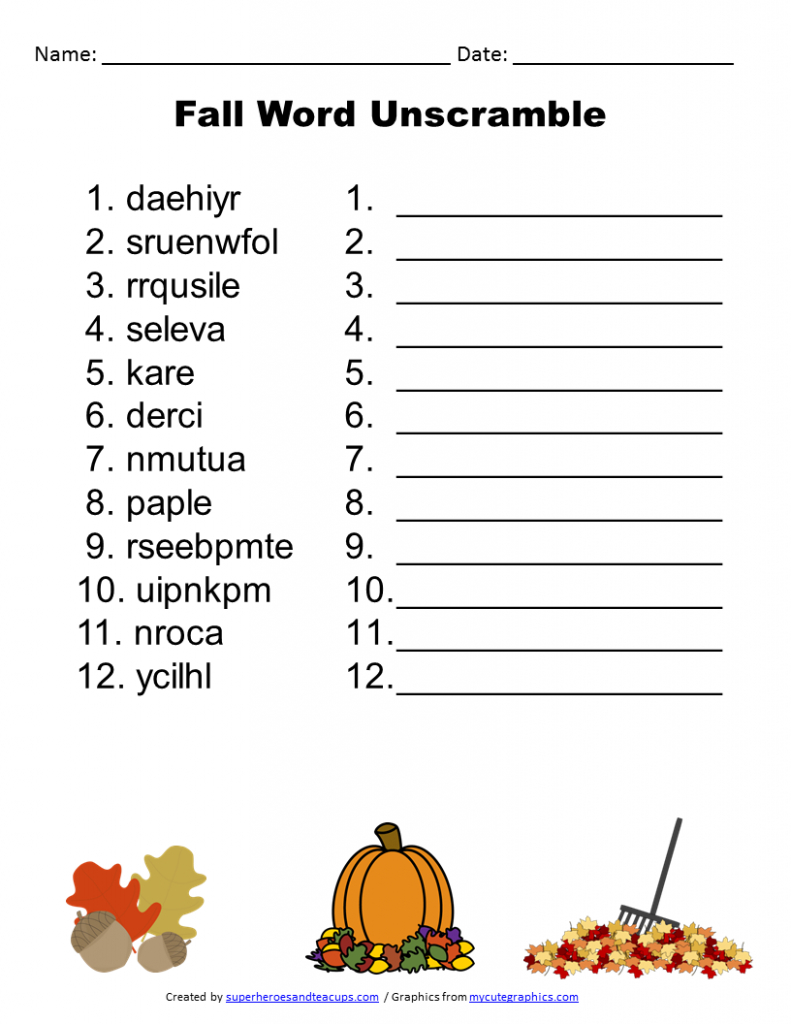 Free Printable - Fall Word Unscramble | Games For Senior Adults - Unscramble Word Games Printable Free