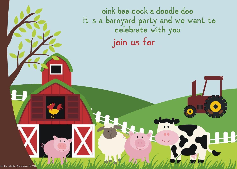 Free Printable Farm Animals Birthday Invitation   Free Printable - Free Printable Farm Animals