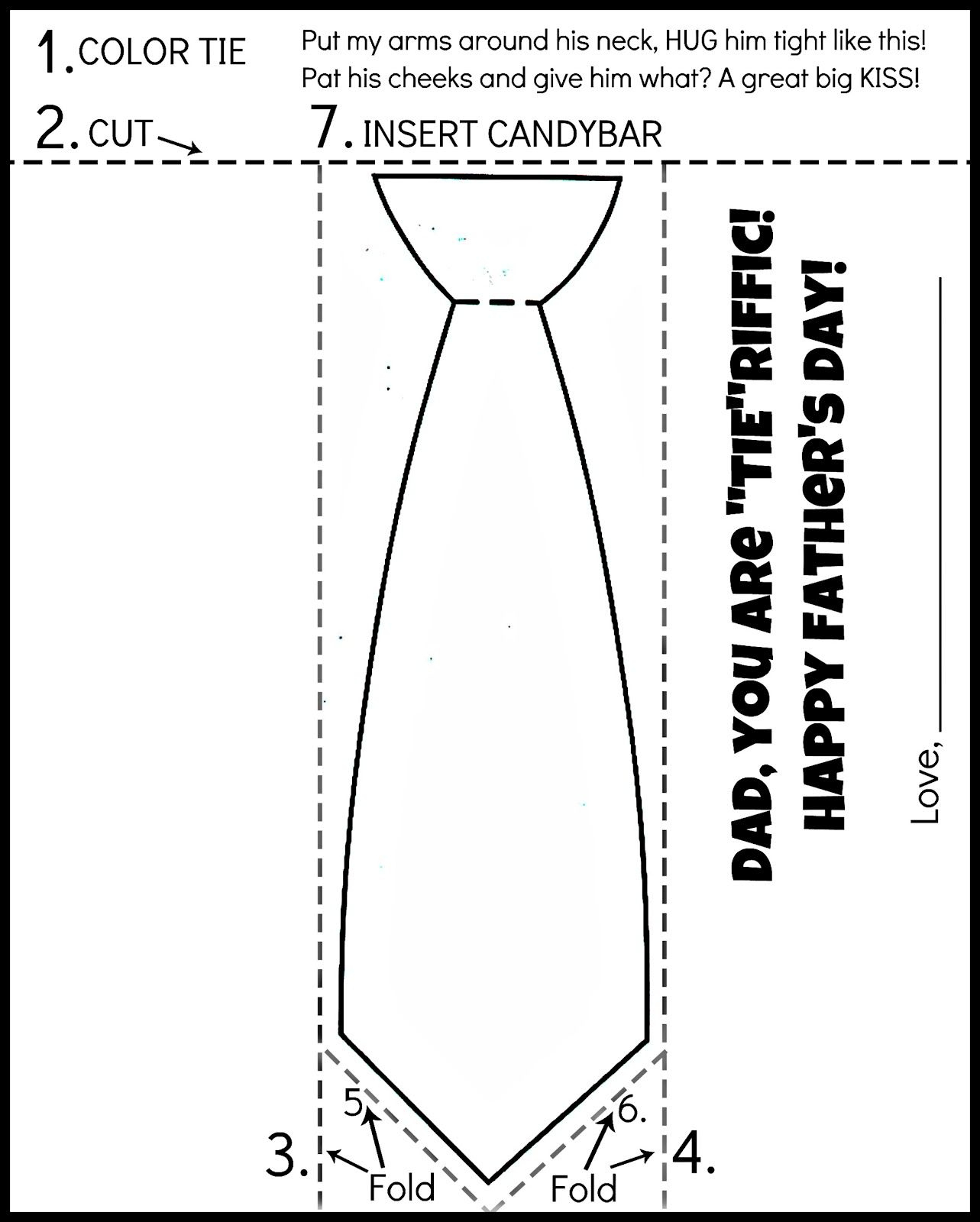 Free Printable Father's Day Tie Coloring Page. Color, Cut, Fold - Free Printable Tie Template