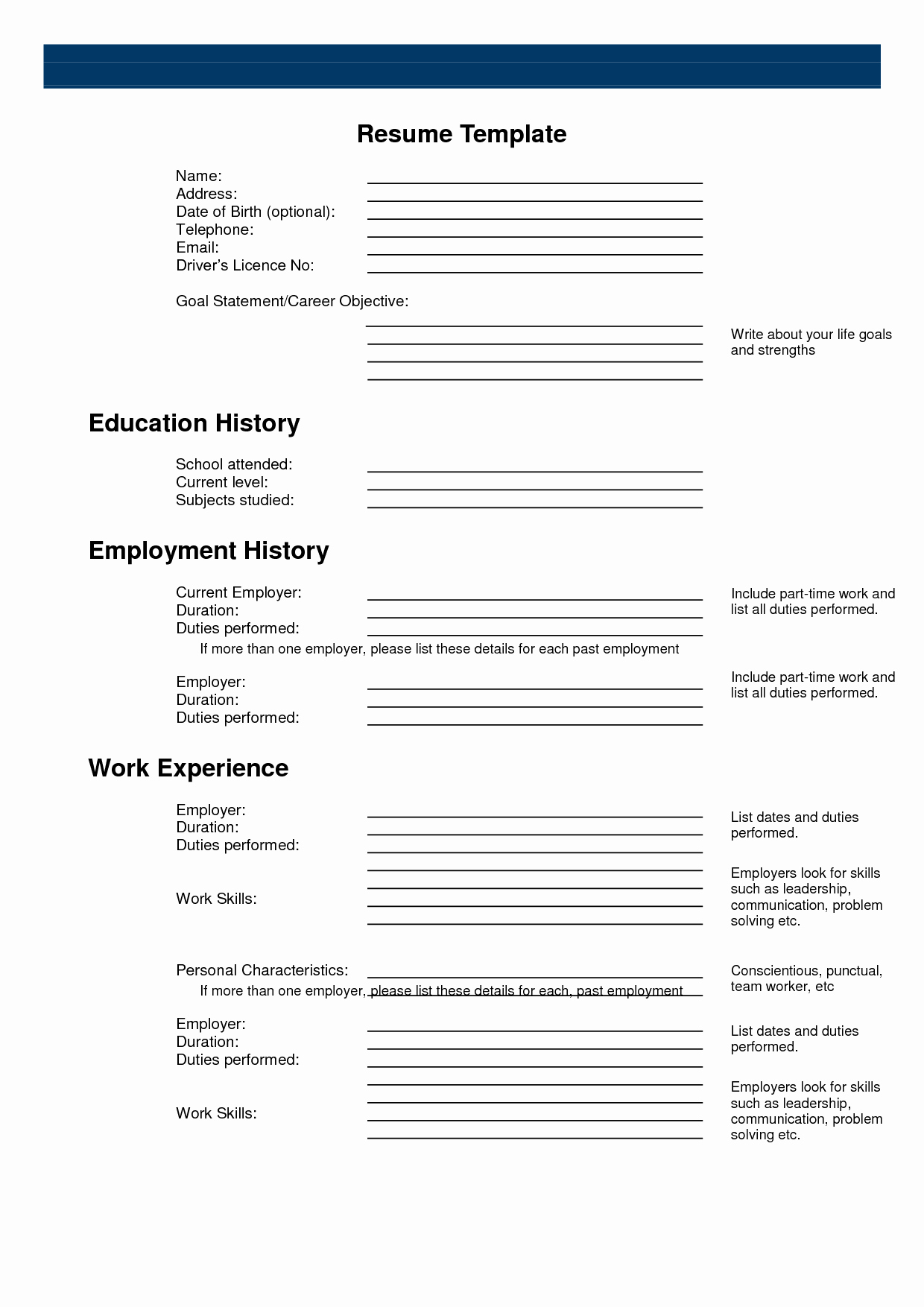 Free Printable Fill In The Blank Resume Templates Of Resume Forms - Free Printable Blank Resume