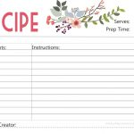 Free Printable : Floral Recipe Card   Free Printable Recipe Cards