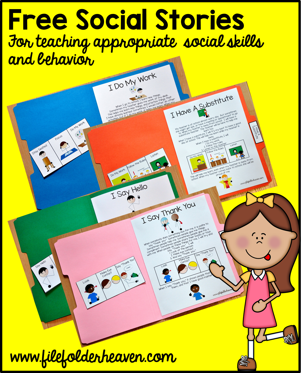 "Free, Printable ""folder Stories."" Simple One Page Social Stories - Free Printable Social Skills Stories For Children"