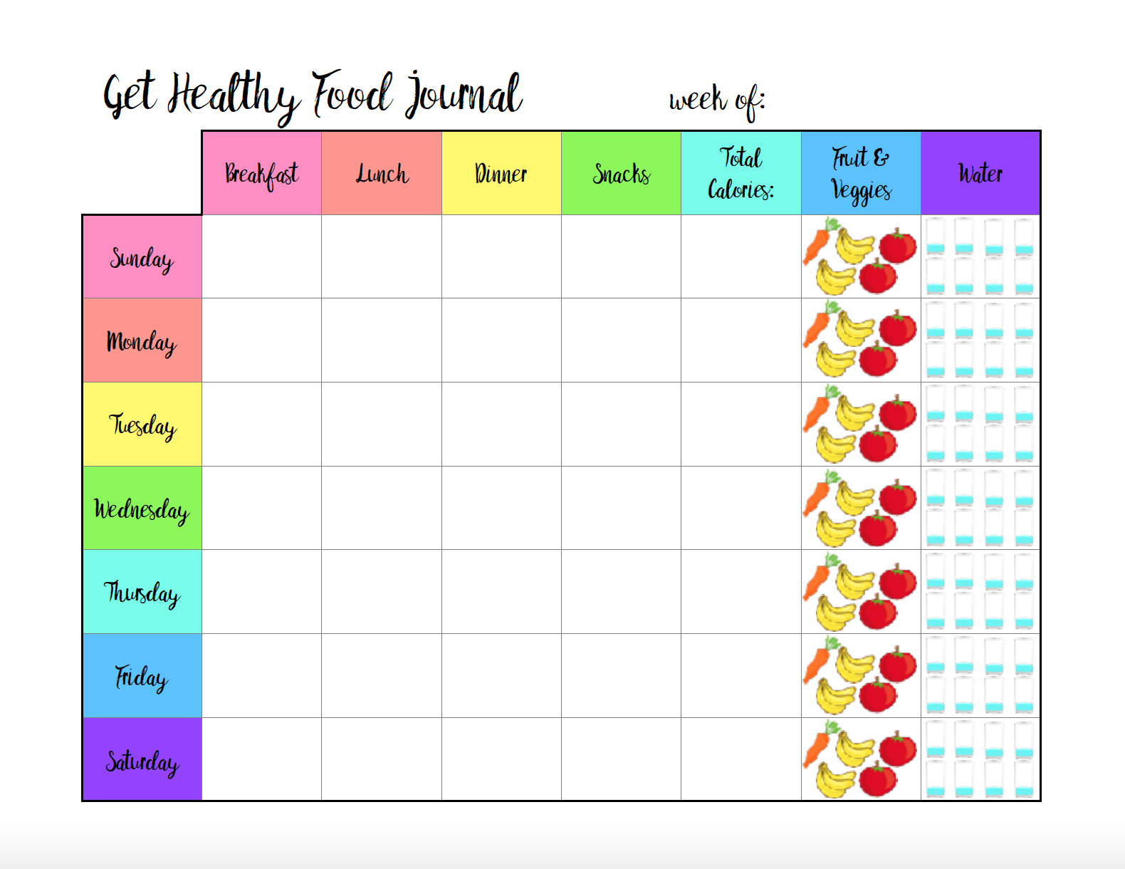 Free Printable Food Journal: 6 Different Designs - Diet Logs Printable Free