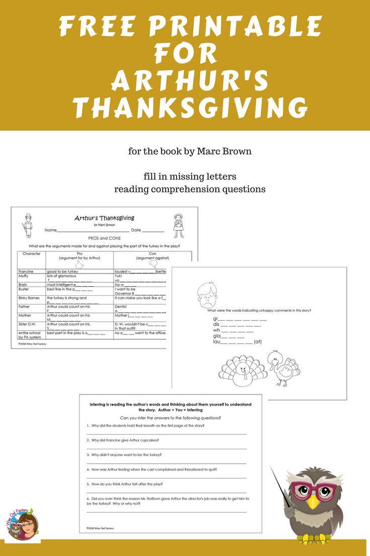 Free Printable For Arthur's Thanksgiving Book | Free On The Wise Owl - Free Printable Thanksgiving Books