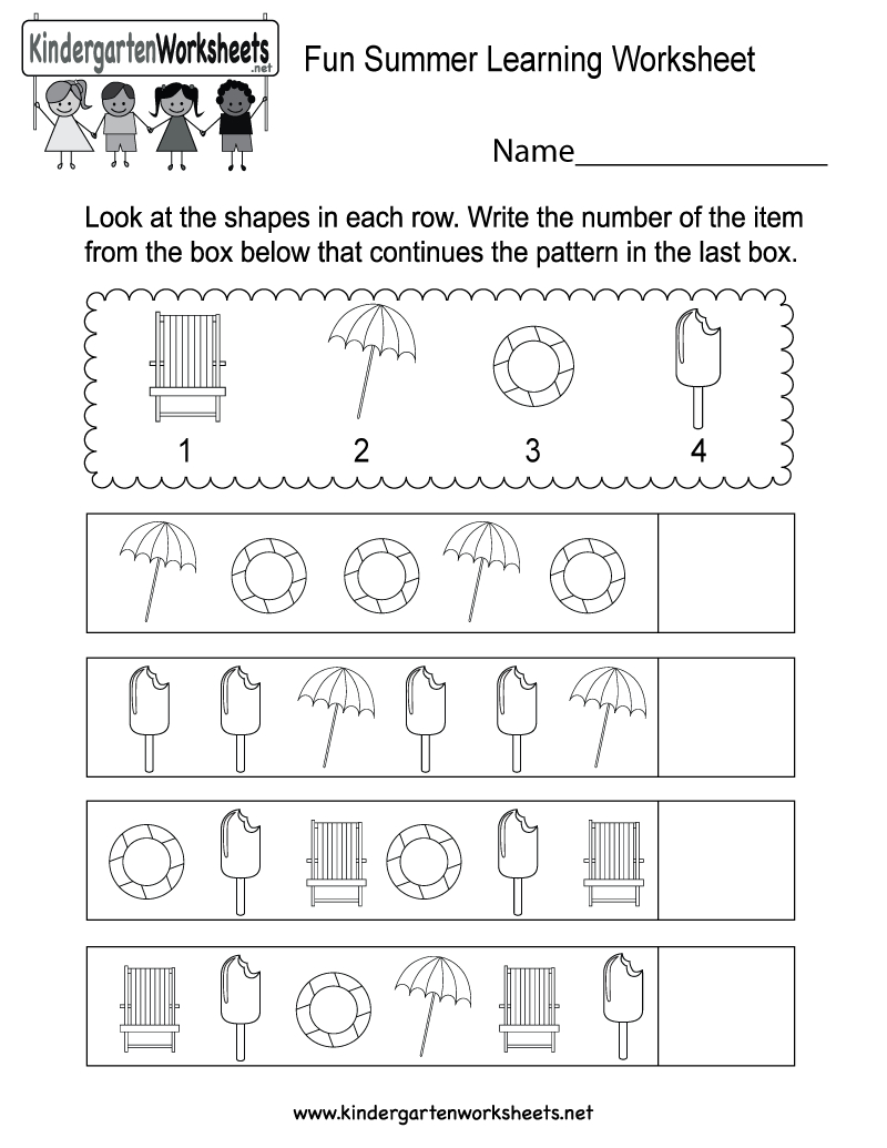 Free Printable Fun Summer Learning Worksheet For Kindergarten - Free Printable Learning Pages