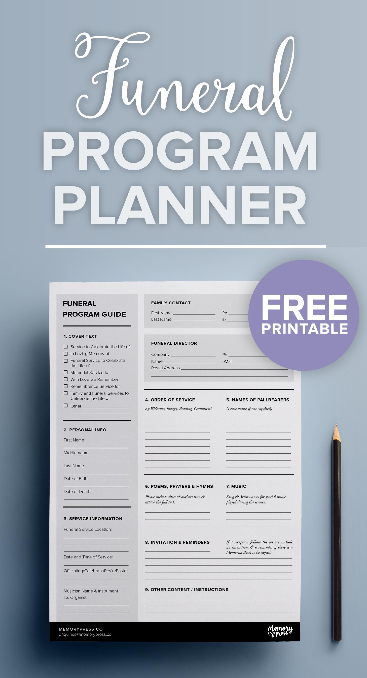 Free Printable Funeral Program Planner | Funeral Program Templates - Free Printable Funeral Program Template