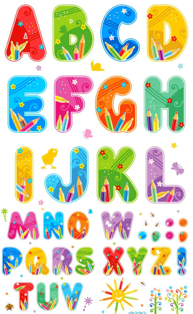 Free Printable Funny Alphabet Letters   Summer Alphabet Vector Set - Free Printable Clip Art Letters