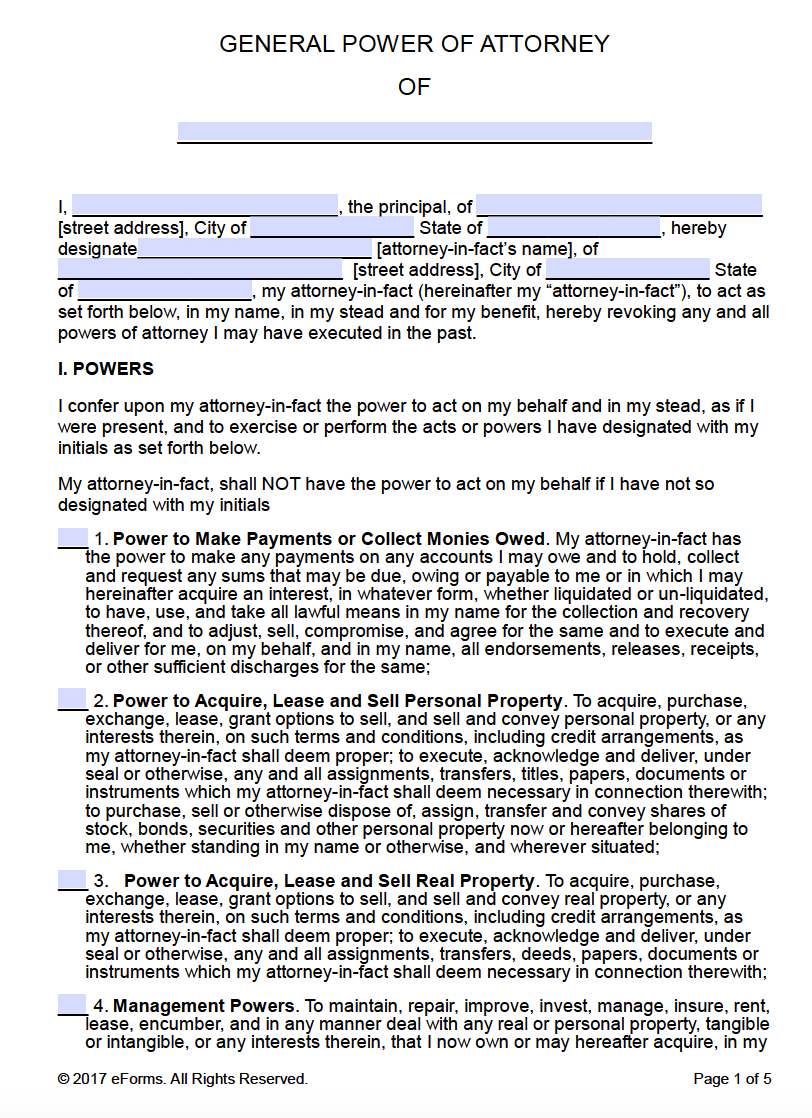 Free Printable General Power Of Attorney Forms - Free Printable Power Of Attorney Forms