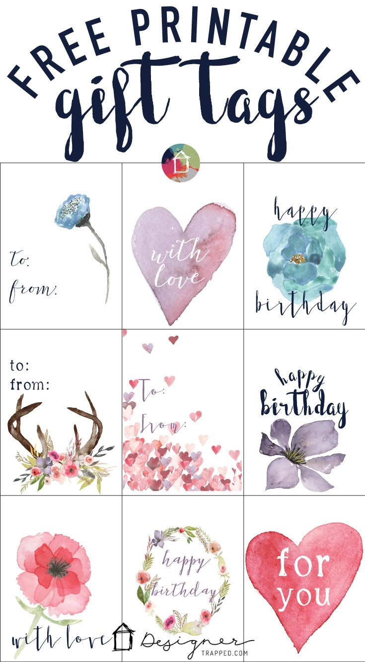 Free Printable Gift Tags For Birthdays | Designertrapped - Free Printable To From Gift Tags