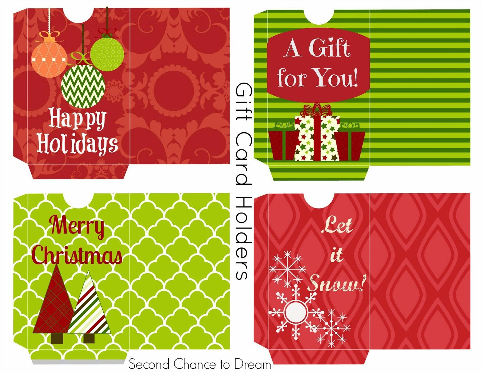 Free Printable Gift Tags & Gift Card Holders | Freebies | Free - Free Printable Christmas Gift Cards