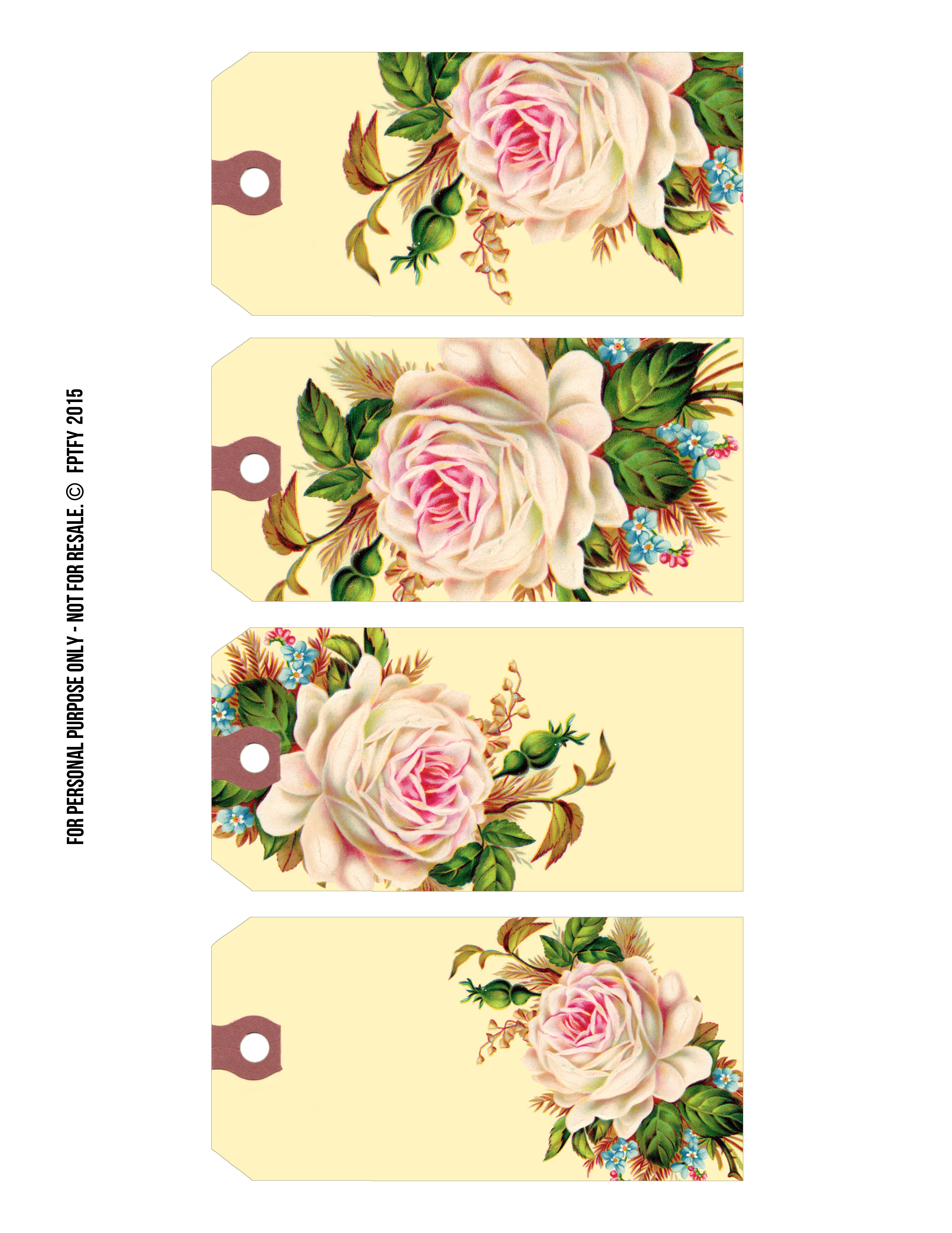 Free Printable Gift Tags: Vintage Rose Manila Tags - Free Pretty - Free Printable Roses