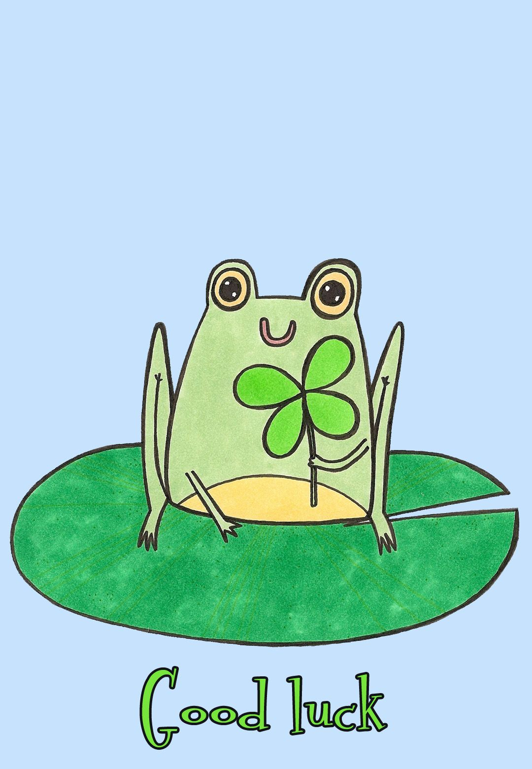 Free Printable Good Luck Frog Greeting Card   Cards   Good Luck - Free Printable Good Luck Cards