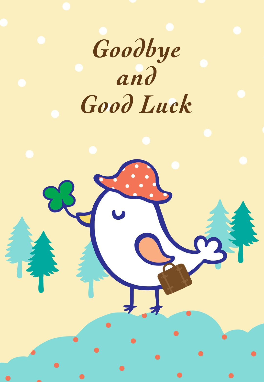 Free Printable Goodbye And Good Luck Greeting Card | Littlestar - Free Printable Goodbye Cards
