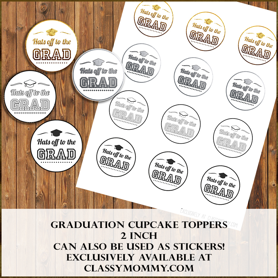 Free Printable Graduation Cupcake Toppers - Classy Mommy - Free Printable Graduation Cupcake Toppers