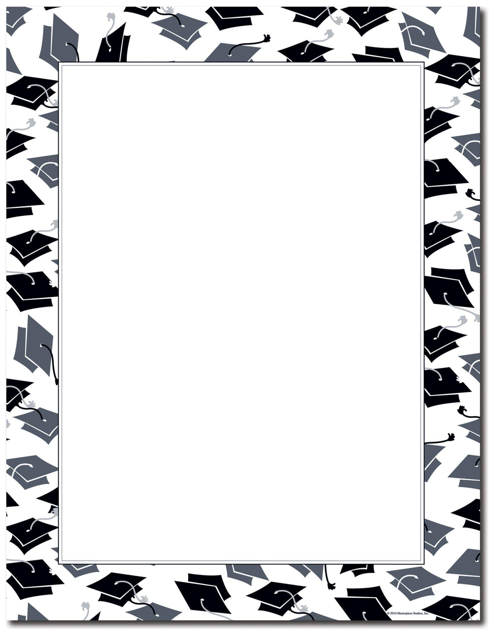 Free Printable Graduation Paper   Mortar Hat Border Letterhead - Free Printable Graduation Paper