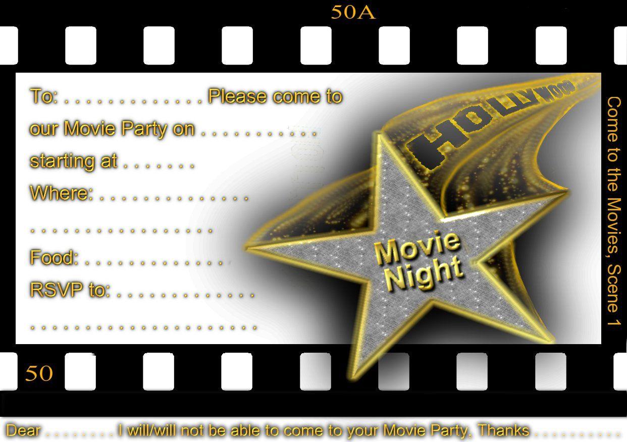 Free Printable Gratuation Movie Themed Invitations   Printable Movie - Movie Night Birthday Invitations Free Printable