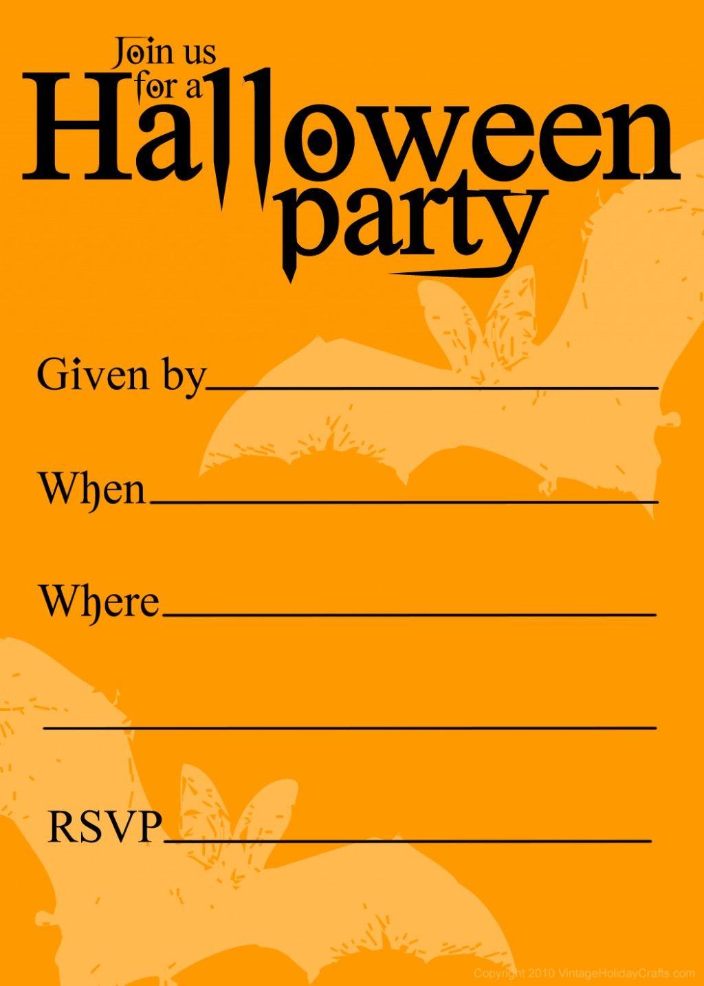 Free Printable Halloween Birthday Invitations Templates | Halloween - Free Printable Halloween Party Invitations