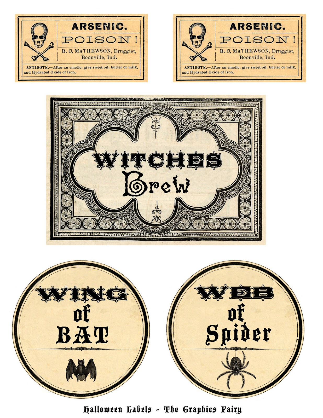 Free Printable Halloween Labels - Potions - The Graphics Fairy - Free Printable Halloween Bottle Labels