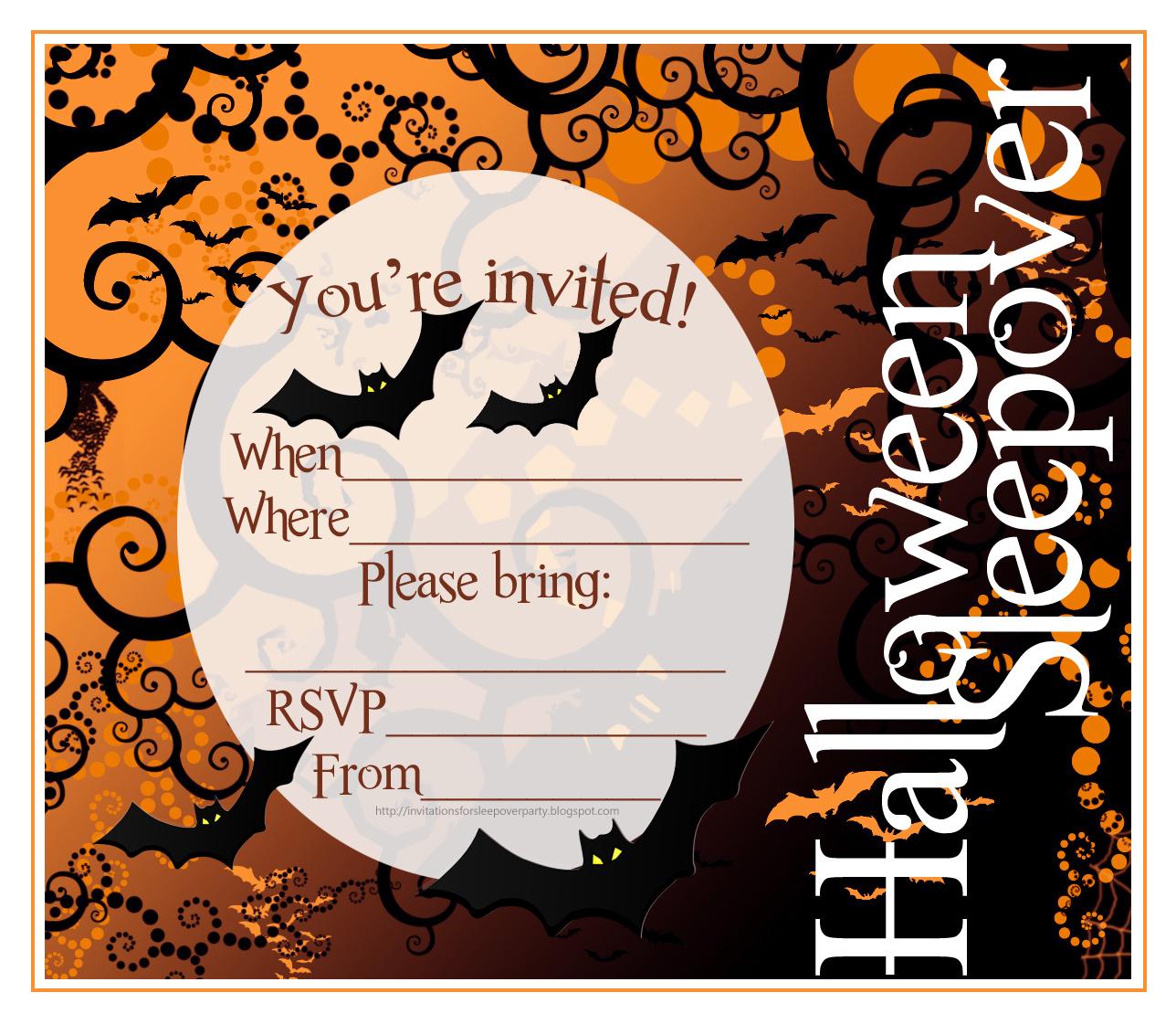 Free Printable Halloween Sleepover Invitations | Halloween Arts - Free Printable Halloween Party Invitations