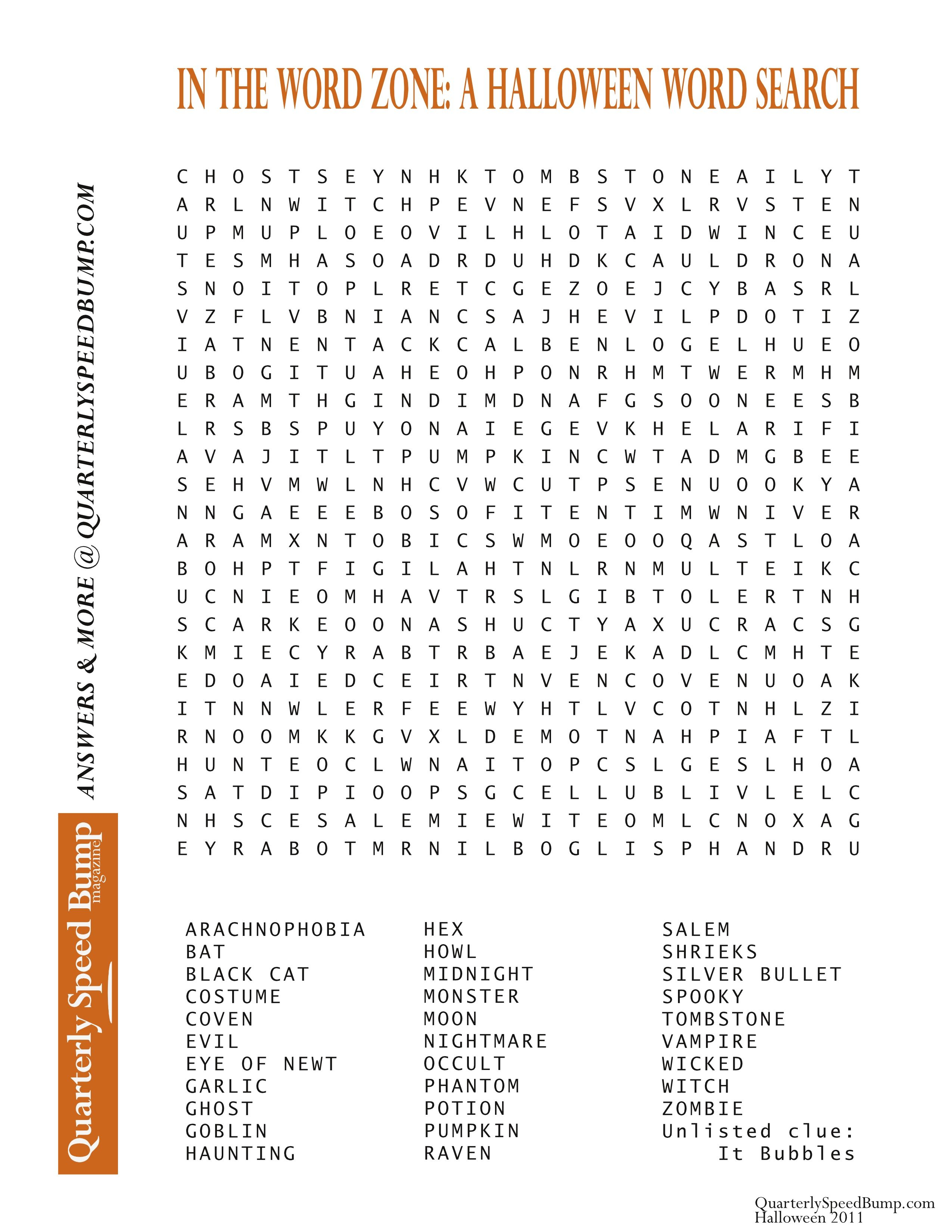 Free Printable Halloween Word Search Puzzles | Halloween Puzzle For - Free Printable Word Search Puzzles Adults Large Print
