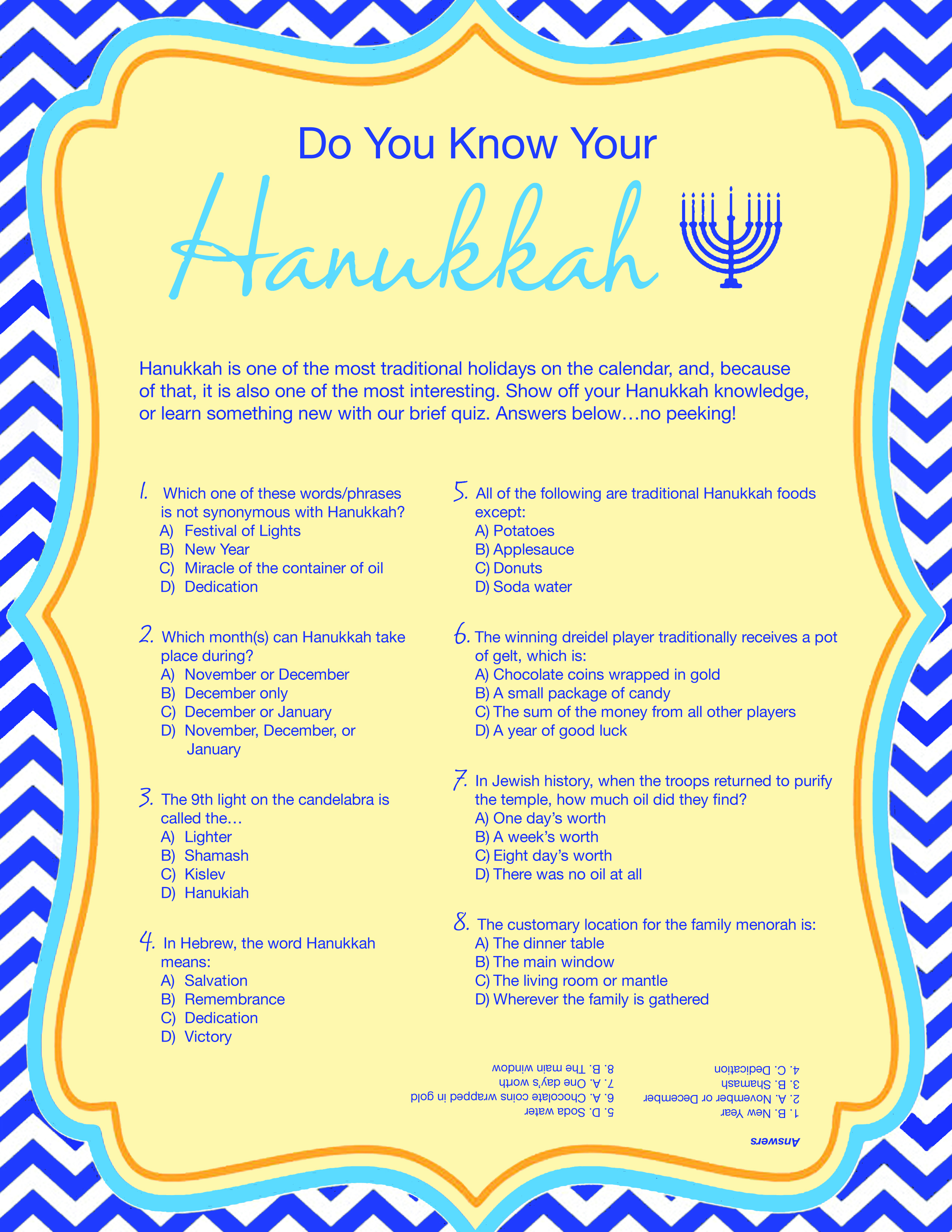 Free Printable Hanukkah Game - Kwanzaa Trivia Free Printable