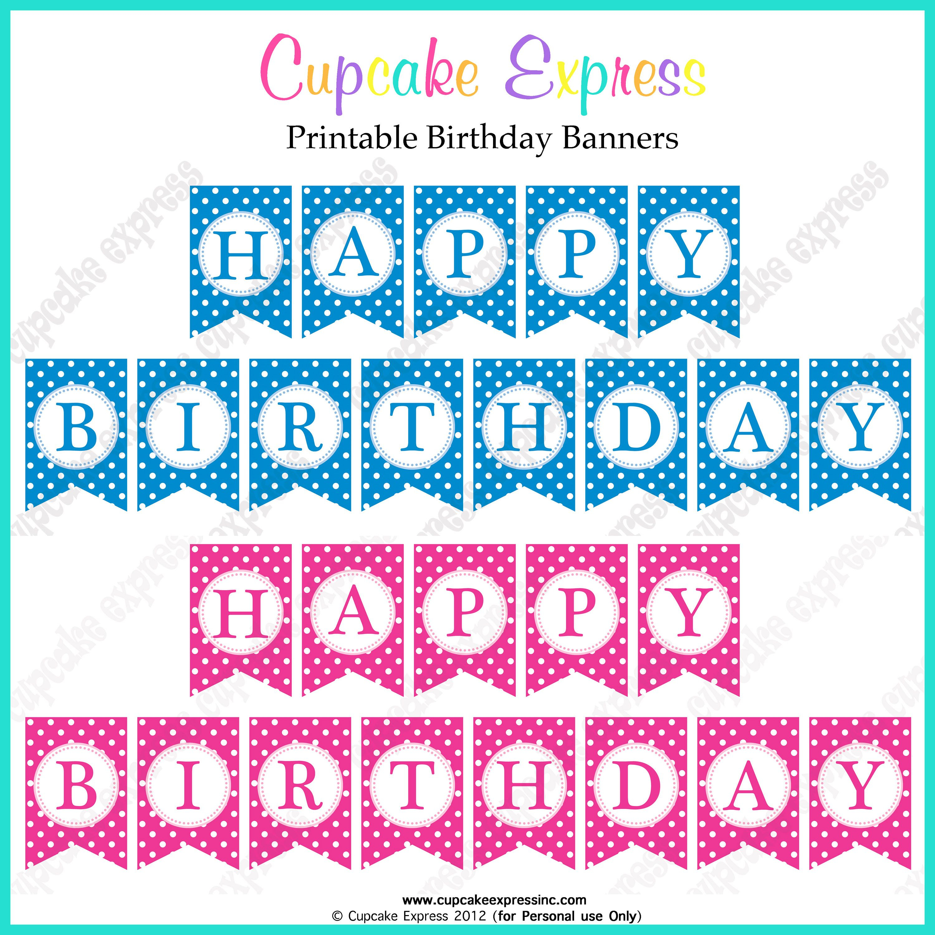 Free Printable Happy Birthday Banners Pink Blue | Free Printables - Free Printable Happy Birthday Banner