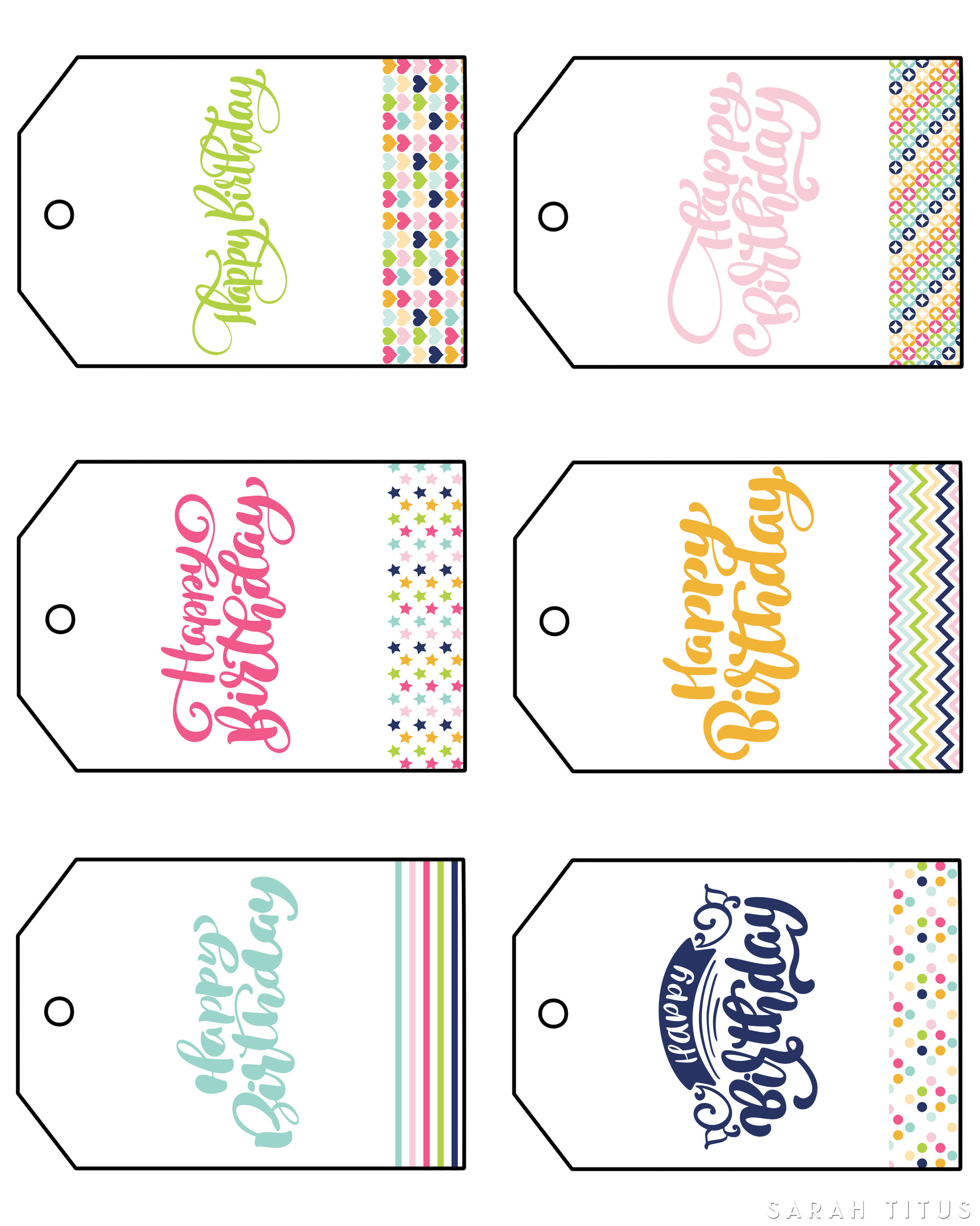 Free Printable Happy Birthday Gift Tags - Sarah Titus - Free Printable Birthday Tags