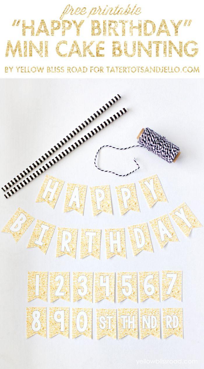 Free Printable Happy Birthday Mini Cake Bunting | Cupcake Topper - Happy Birthday Free Printable