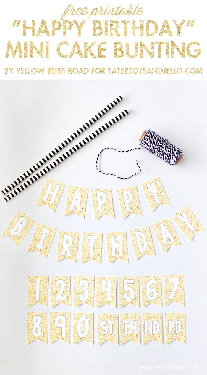 Free Printable Happy Birthday Mini Cake Bunting | Wantneedlove - Free Printable Birthday Cake