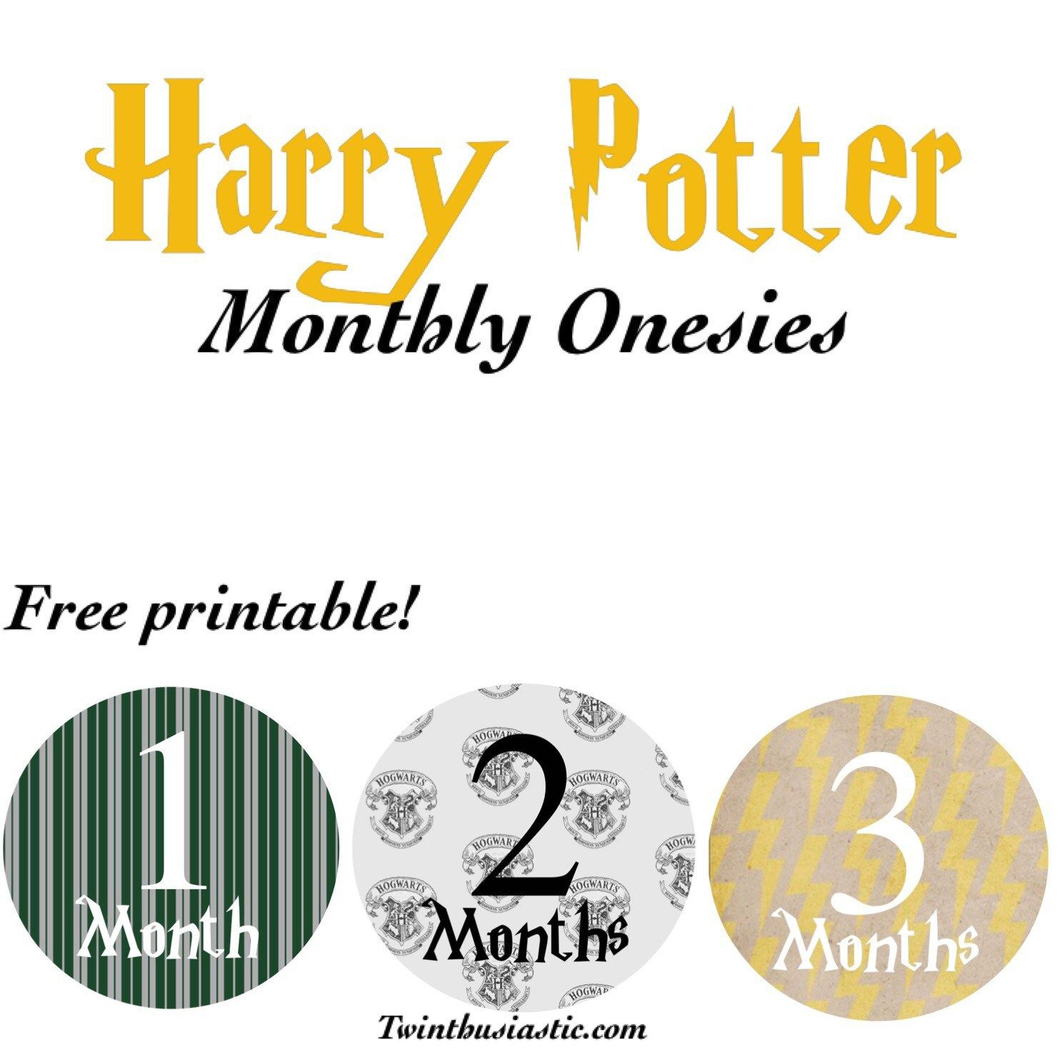 Free Printable: Harry Potter-Themed Monthly Onesies | Twin Mom Stuff - Free Printable Onesies